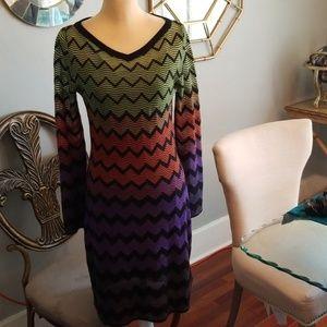Missoni Long Sleeve Chevron Dress Multi Color Sz44